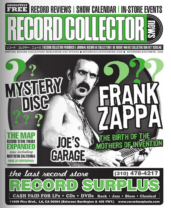 Frank Zappa Record Collector News November cover