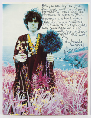 Note from Donovan, 1967. Photo by Robert Wedemeyer, Collection of David and Alex Graham.