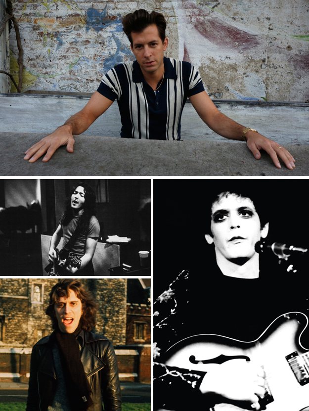 Clockwise from top: Mark Ronson, Lou Reed, Photographer Mick Rock, Rory Gallagher
