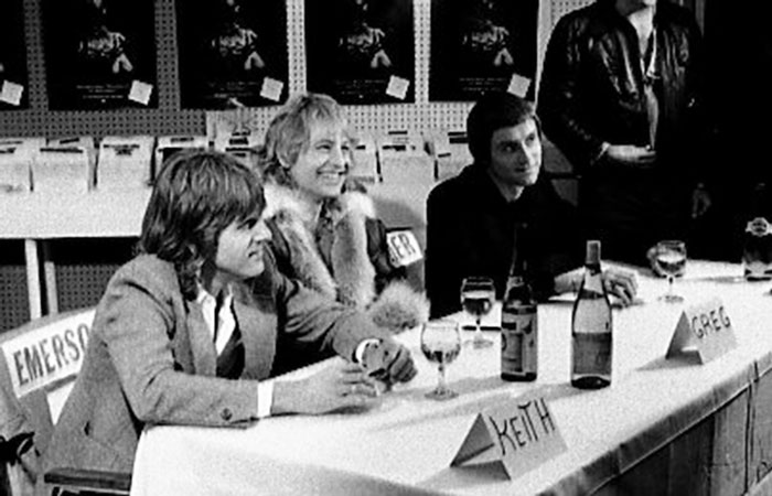 Left: Keith Emerson,Greg Lake and Carl Palmer at Records on wheels, Toronto, 1978. PHOTO: JEAN LUC.