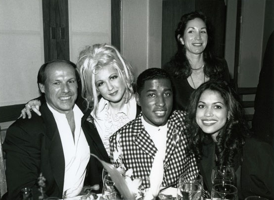 Glew with Cyndi Lauper, Babyface and wife Tracey, with good friend Ellen at Epic's post-AMA bash 1994