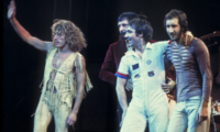 The Who performing in Chicago, 1975; L–R, Roger Daltrey, John Entwistle, Keith Moon and Pete Townshend. wikimedia commons, Jim Summaria