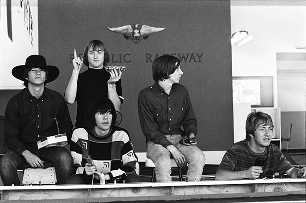Feb. 15, 1966, (L–R) Richie Furay, Stephen Stills, Neil Young Bruce Palmer and Dewey Martin. Photo: Henry Diltz