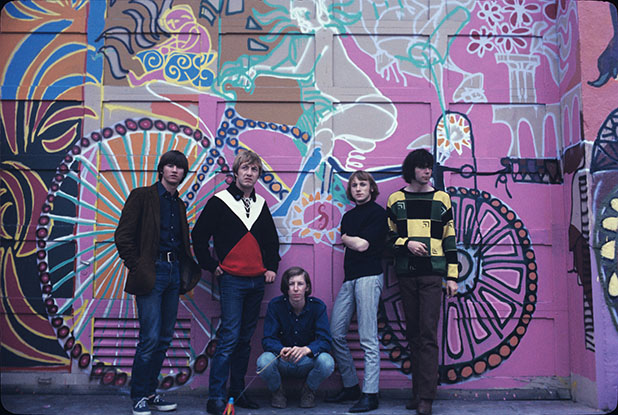 Buffalo Sringfield (L–R) Richie Furay, Dewey Martin, Bruce Palmer, Stephen Stills and Neil Young