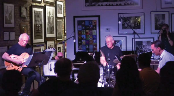 The Denny Seiwell Trio with (L-R) John Chodinai, Denny Seiwell and Joe Bagg at the Mr. Musichead Gallery in Los Angeles