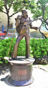 The Elvis Presley commemorative statue outside the Blaisdell Arena. Photo by Gillian G. Gaar