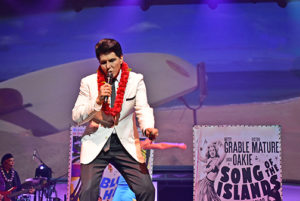 Johnny Fortuno appears as Elvis in Rock a Hula;. Photo by Gillian G. Gaar