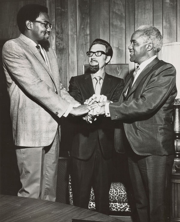 Pictured: (L-R) Stax Records owners Al Bell and Jim Stewart with Pops Staples